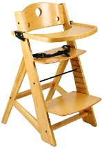 Keekaroo Adjustable Height Right Wood High Chair w/ Insert & Tray
