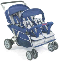 Angeles Surestop 4 Quad Passenger Folding Daycare Commercial Bye Bye Stroller