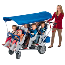 Angeles Runabout 6 Passenger Daycare Commercial Bye Bye Stroller w/ Canopy