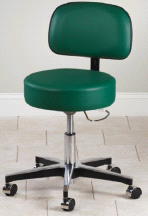 Clinton 5 Leg Pneumatic Adjustable Therapist Exam Stool Chair w/ Backrest
