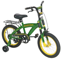 "Tomy John Deere 16"" Boy's Bicycle with Adjustable Training Wheels"