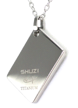 Shuzi Vitality Tag Shaped Polished Titanium Fashion Pendant