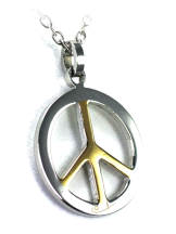 Shuzi Vitality Peace Symbol Stainless Steel Two Tone Fashion Pendant