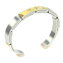 Shuzi Vitality Men's Two Tone Stainless Steel Sport Cuff Fashion Bracelet