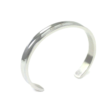 Shuzi Vitality Polished Grooved Cuff Stainless Steel Fashion Bracelet