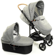 StrollAir CosmoS Single Lightweight Compact Stroller w/ Bassinet Denim Slate